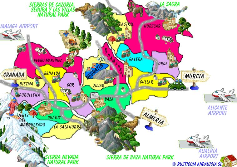 Map Of Spain Andalucia.Cheap Rural Spanish Property For Sale Andalucia Spain Region Map